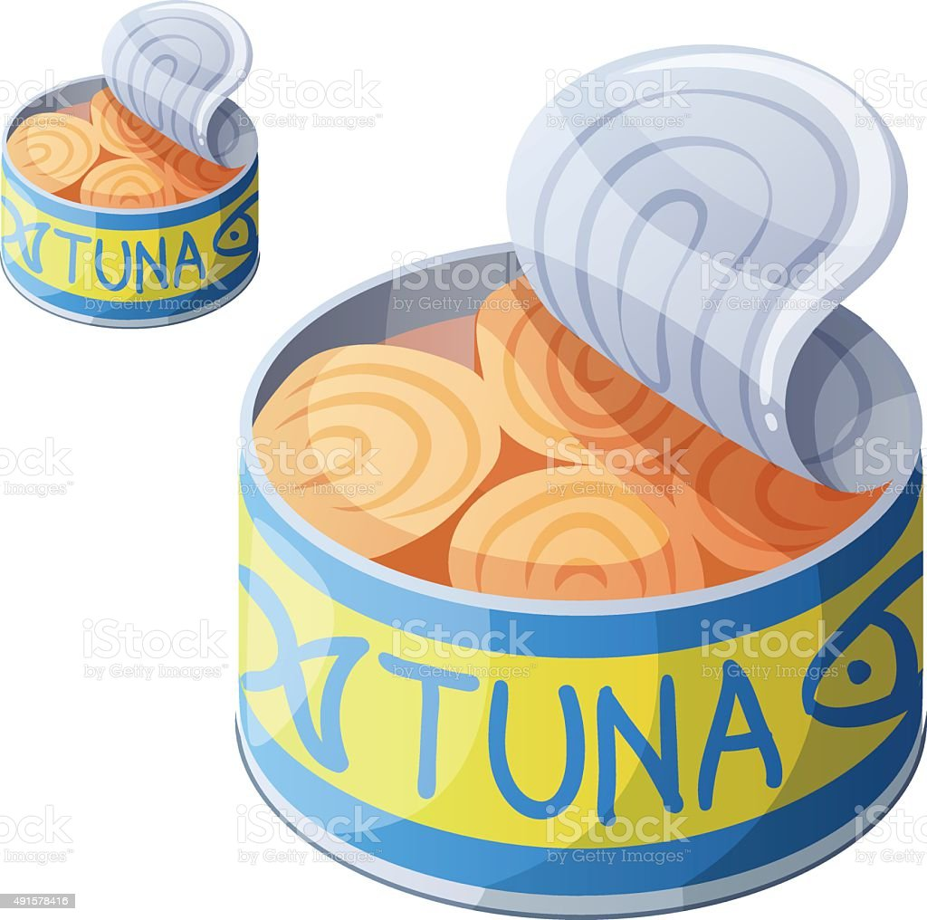 Canned tuna fish isolated on white background. Detailed Vector Icon vector art illustration