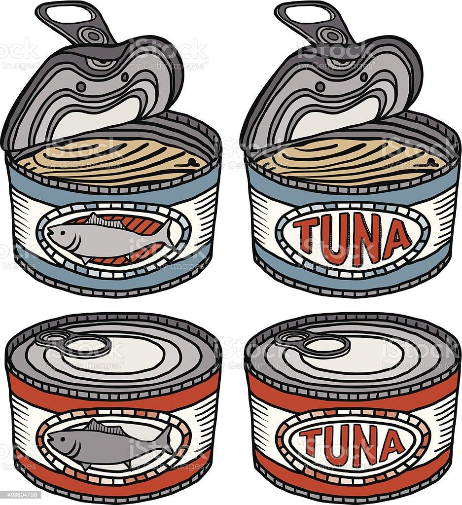 canned tuna fish vector art illustration