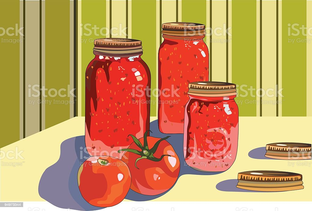 Canning Jars of Tomatoes royalty-free stock vector art