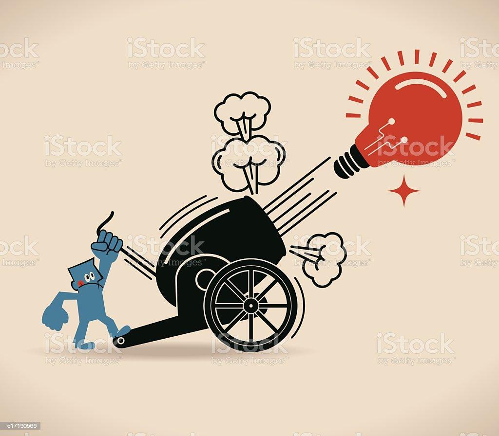 Cannon Firing, Businessman shooting big idea light bulb from cannon vector art illustration
