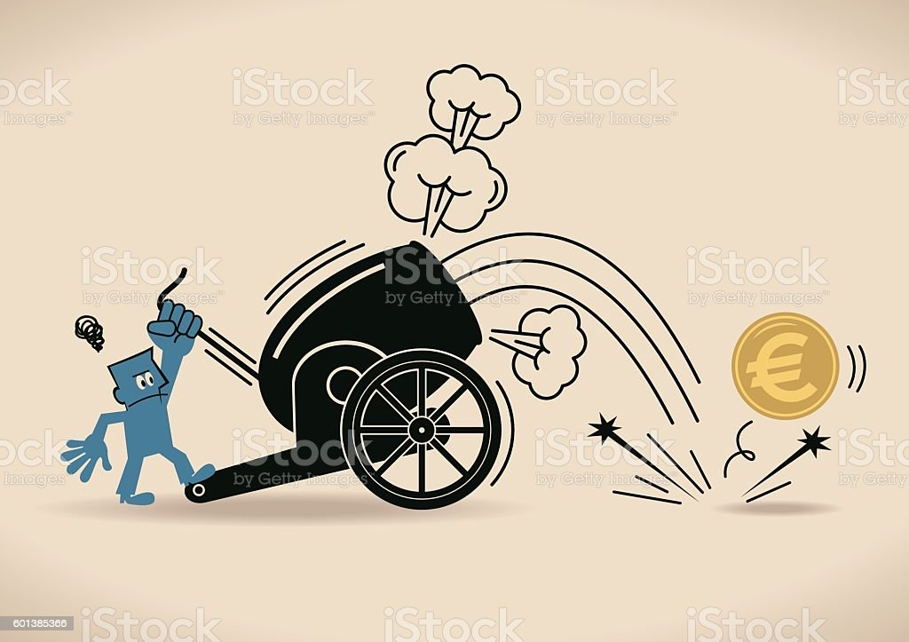 Cannon Firing, Businessman shooting Euro coin from cannon (downfall) vector art illustration