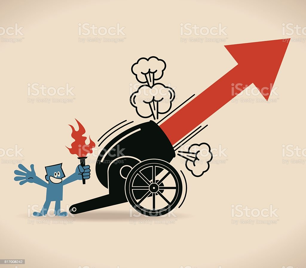 Cannon Firing, Businessman (holding torch) shooting uphill arrow from cannon vector art illustration
