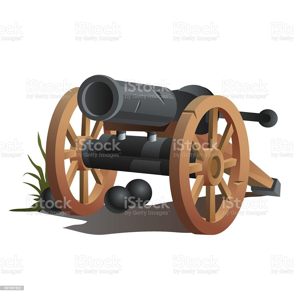 Cannon on wooden wheels and black cannonballs vector art illustration