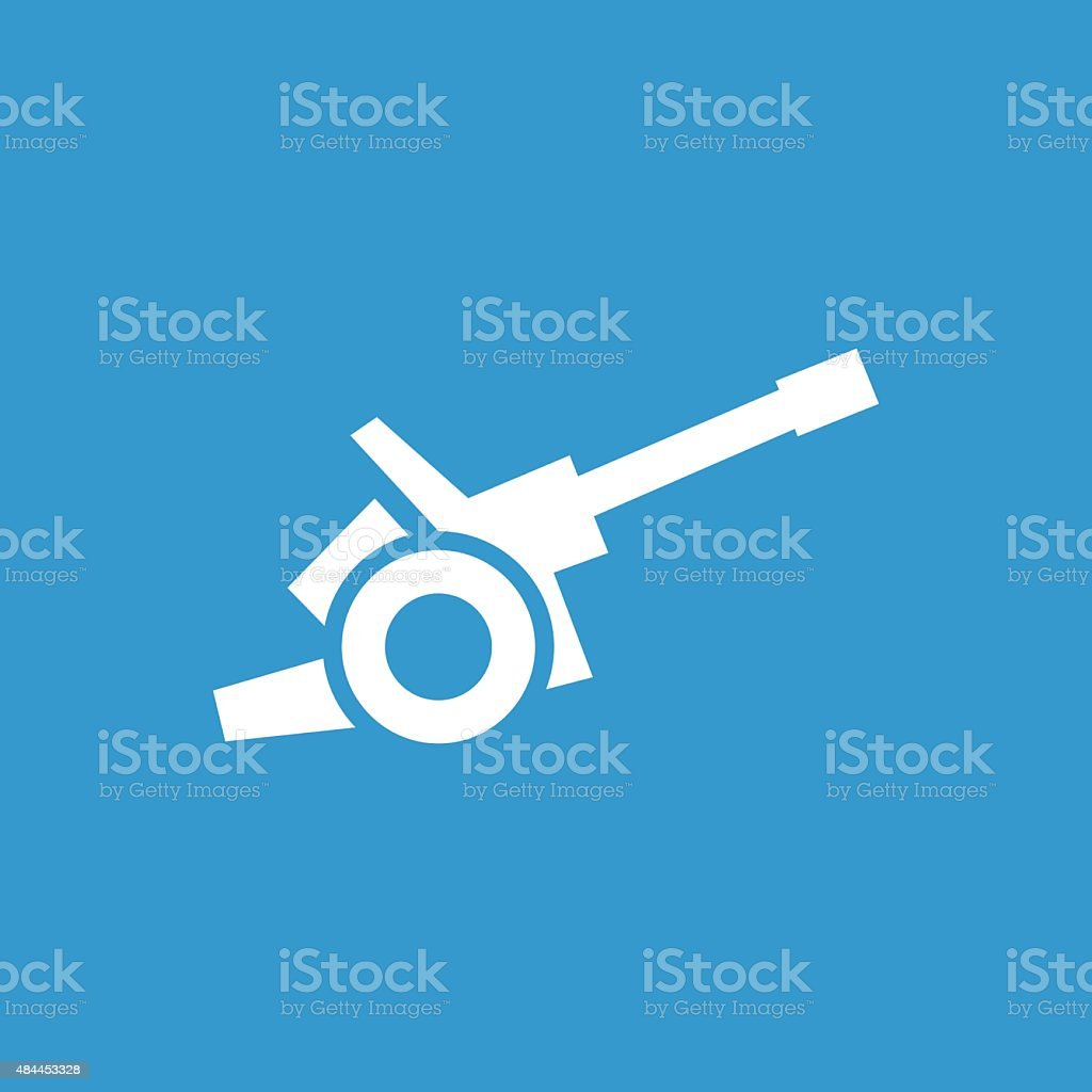 cannon outline icon, isolated, white on the blue background vector art illustration