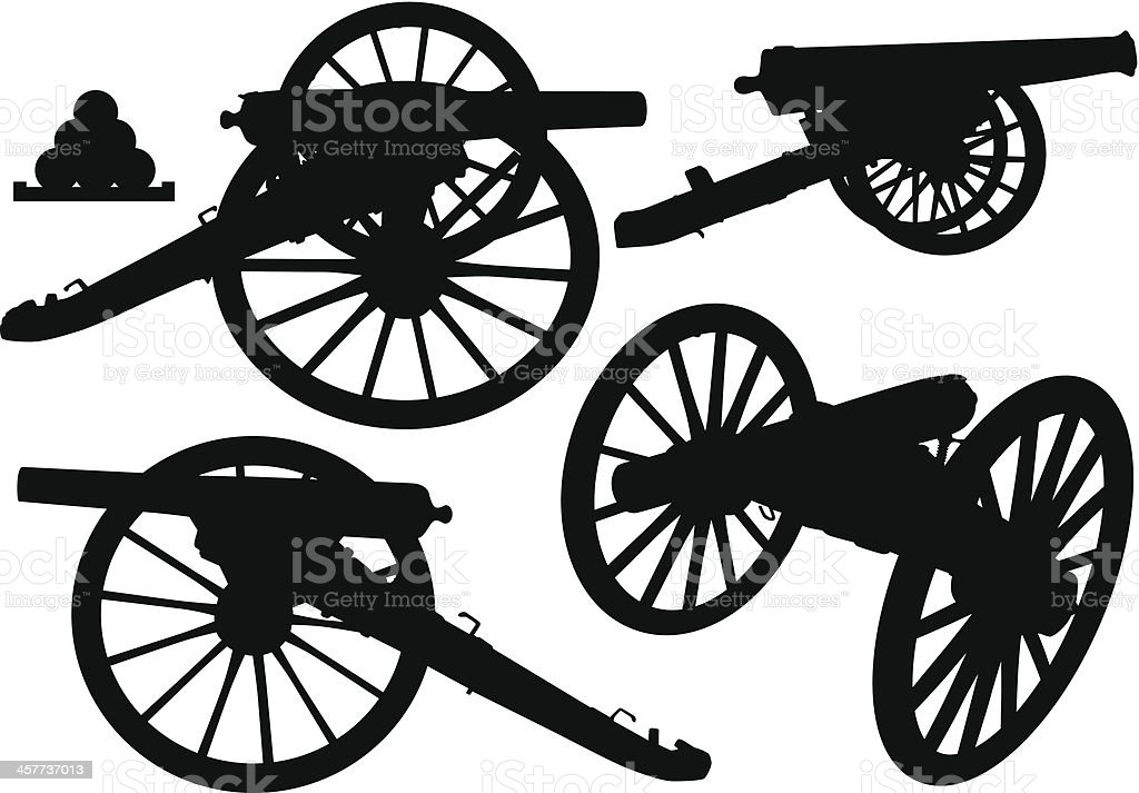 Cannon Silhouettes royalty-free stock vector art