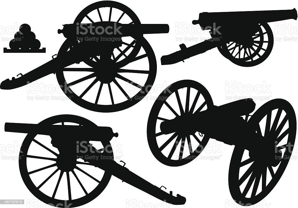 Cannon Silhouettes vector art illustration