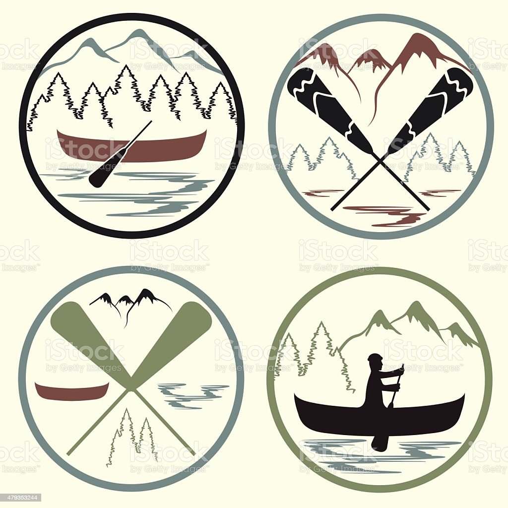 canoe camp vintage labels set vector art illustration