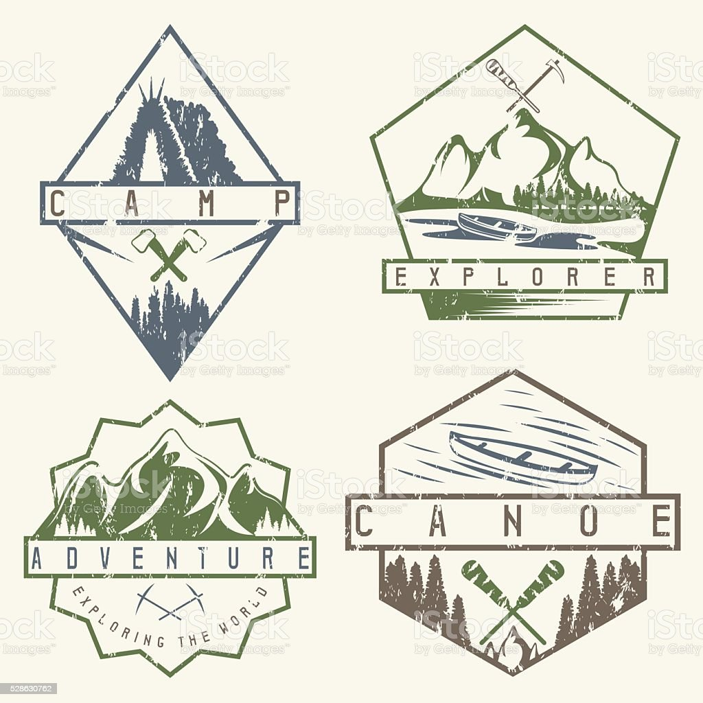canoe, camping and adventure vintage vector grunge labels set vector art illustration