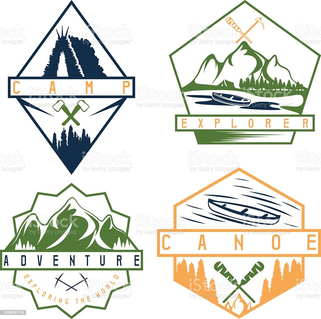 canoe, camping and adventure vintage vector labels set vector art illustration