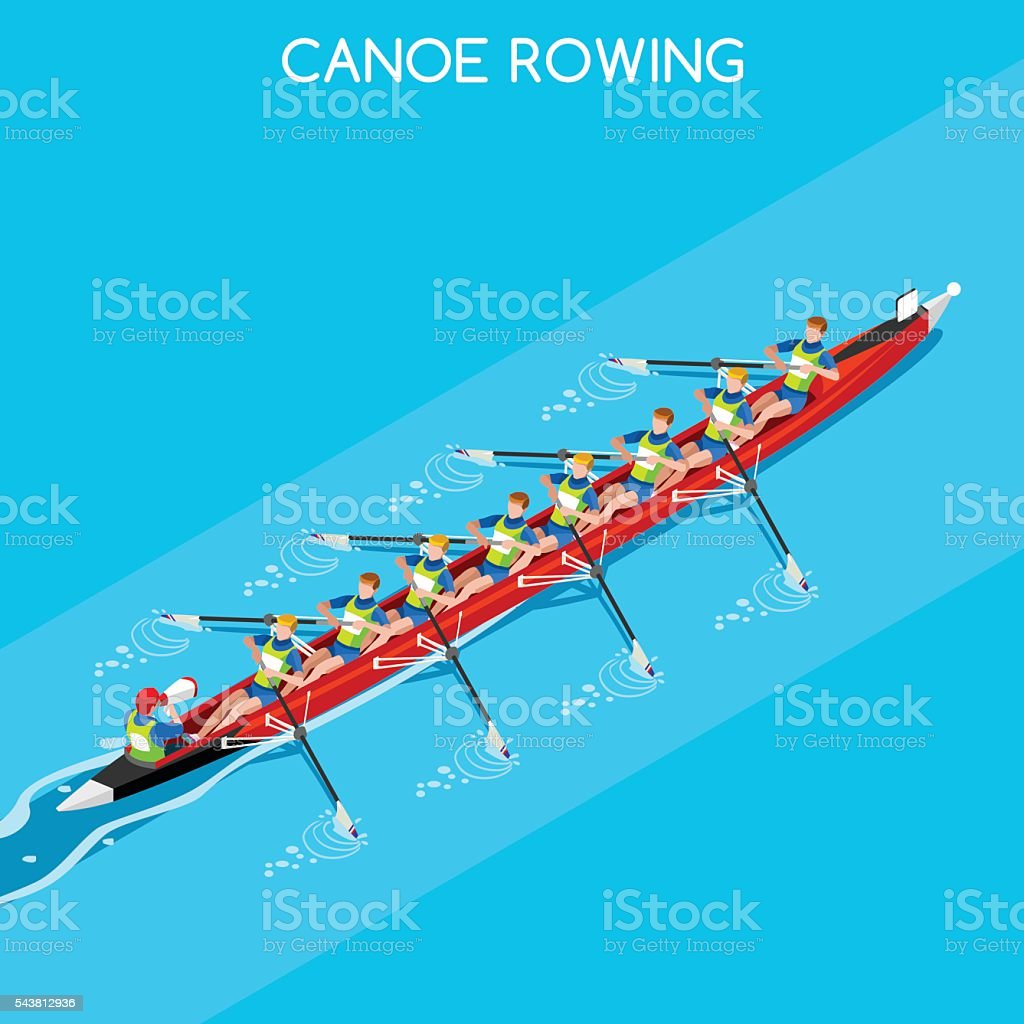 Canoe Coxswain Eight  Summer Games 3D Vector Illustration vector art illustration