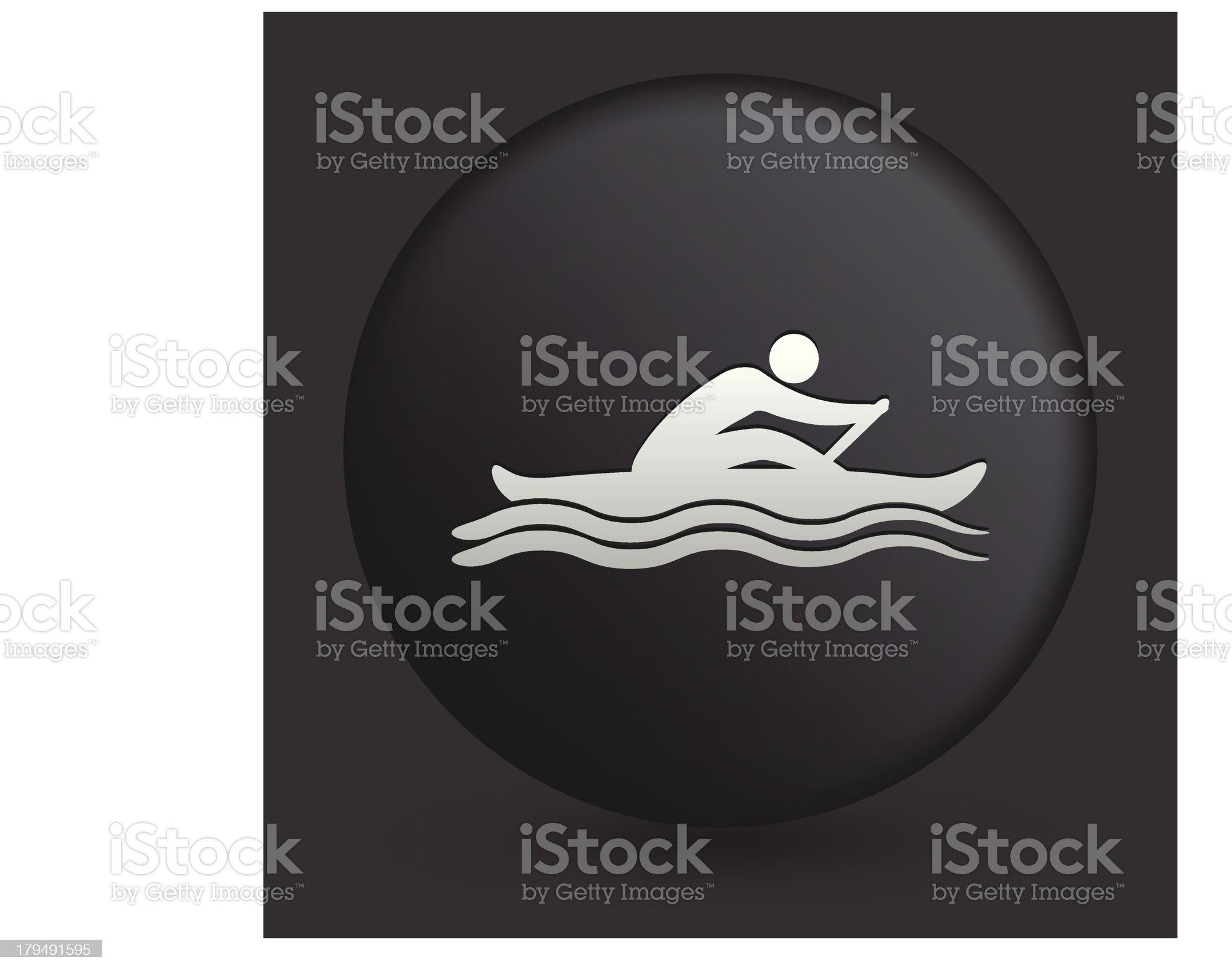 Canoe Icon on Round Black Button royalty-free stock vector art