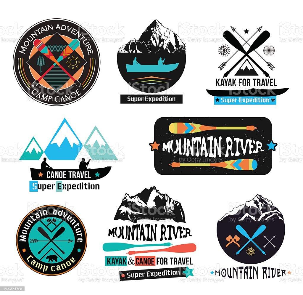 Canoe Journey logotype sign vector art illustration