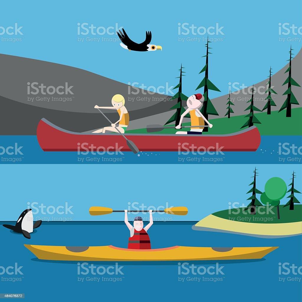 Canoeing and kayaking vector art illustration