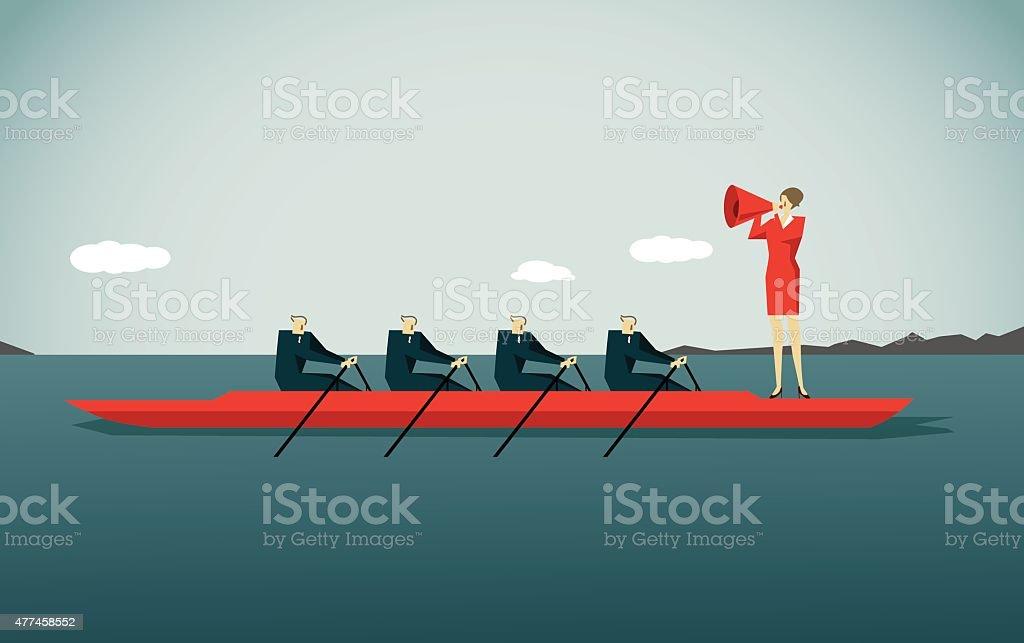 Canoeing, vector art illustration