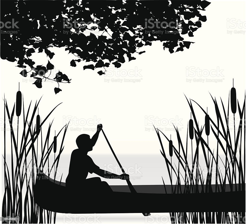 Canoeing Vector Silhouette vector art illustration