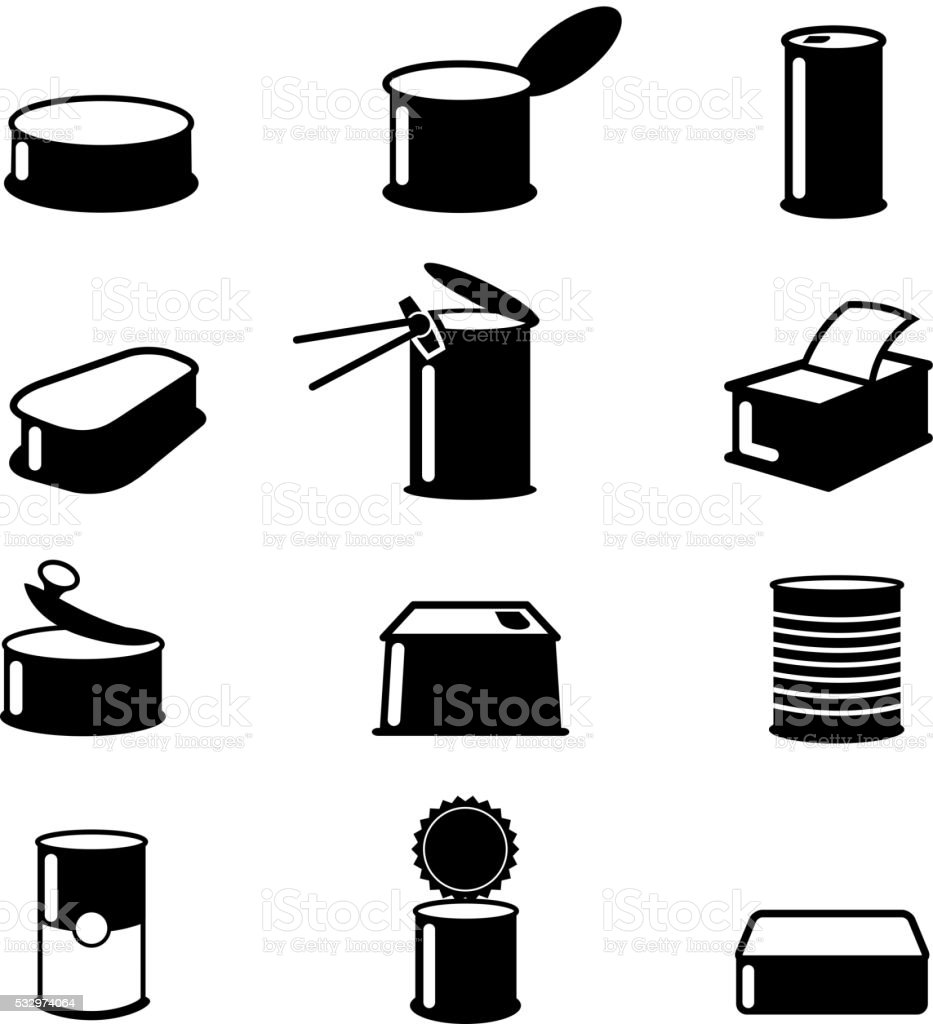 Cans food,canned goods vector icons vector art illustration