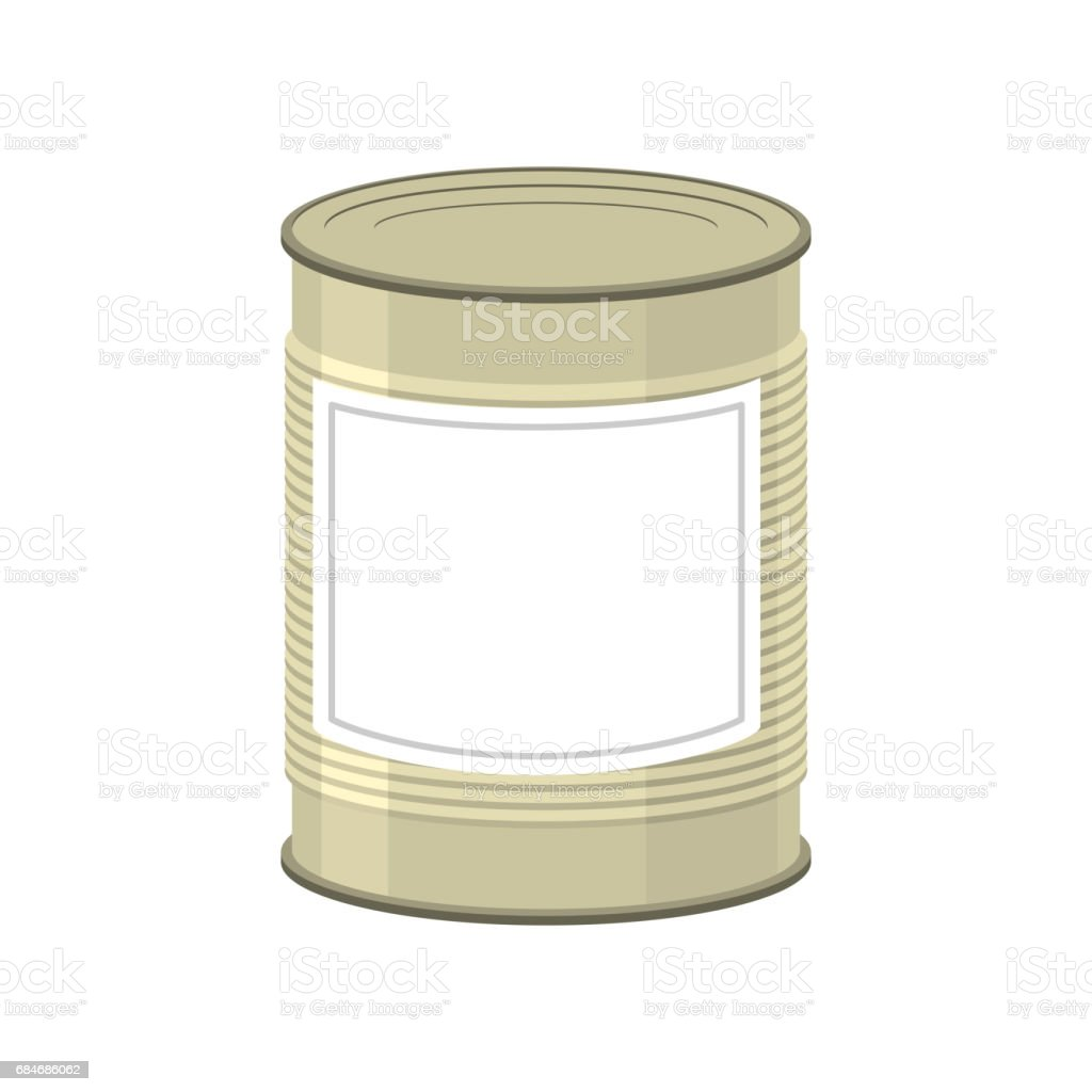 Cans isolated. Tin bank on white background vector art illustration