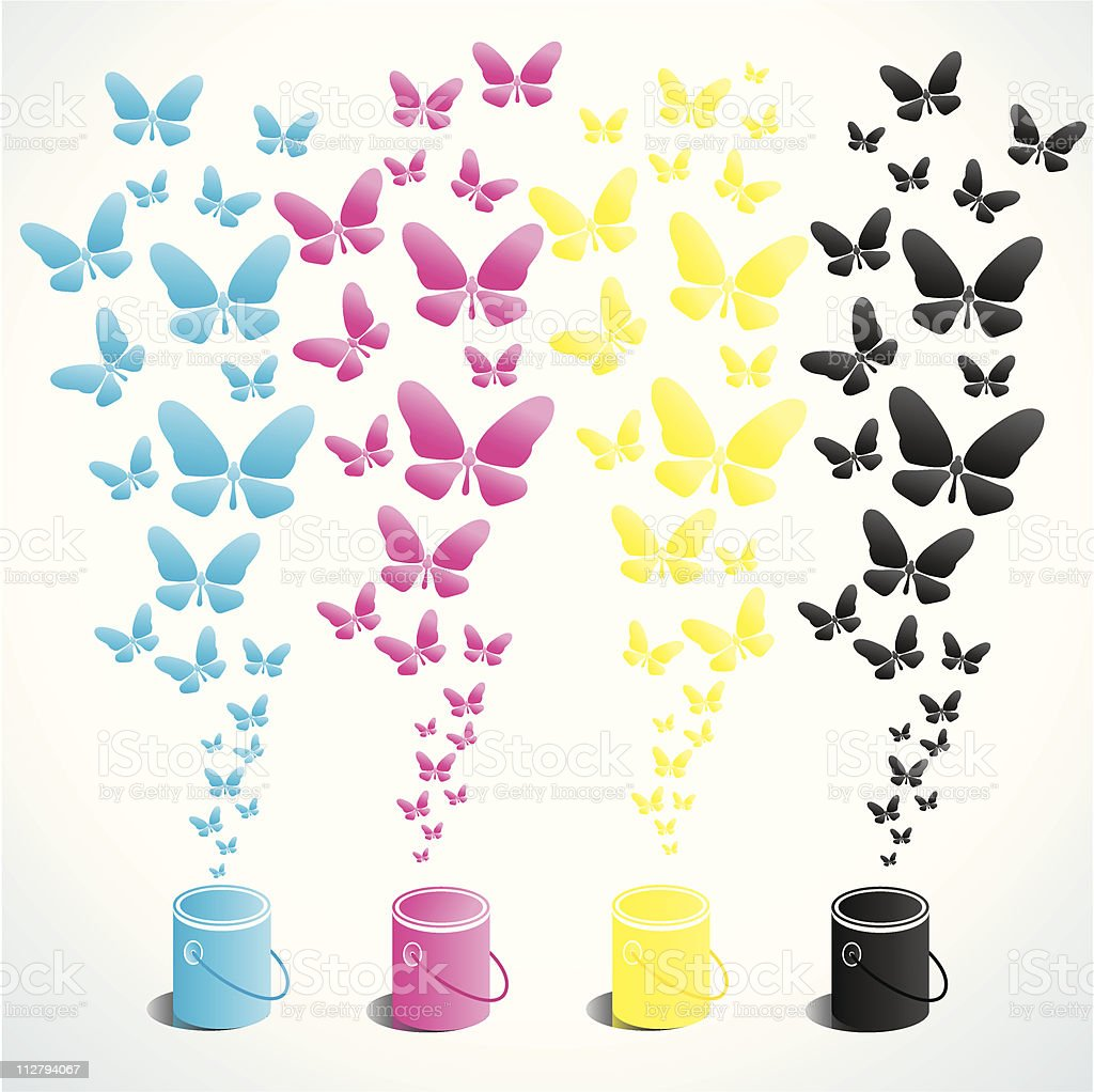 Cans of paint and butterflies royalty-free stock vector art