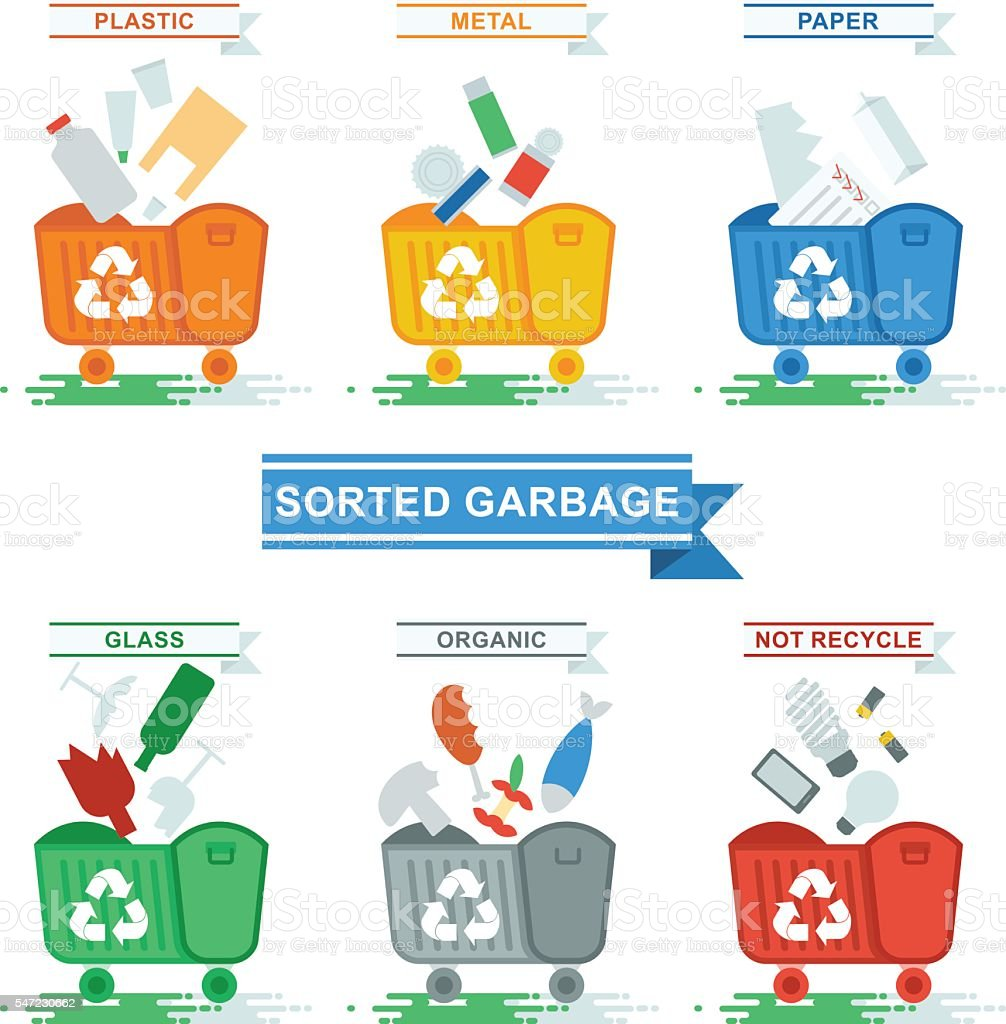 cans with sorted garbage vector art illustration