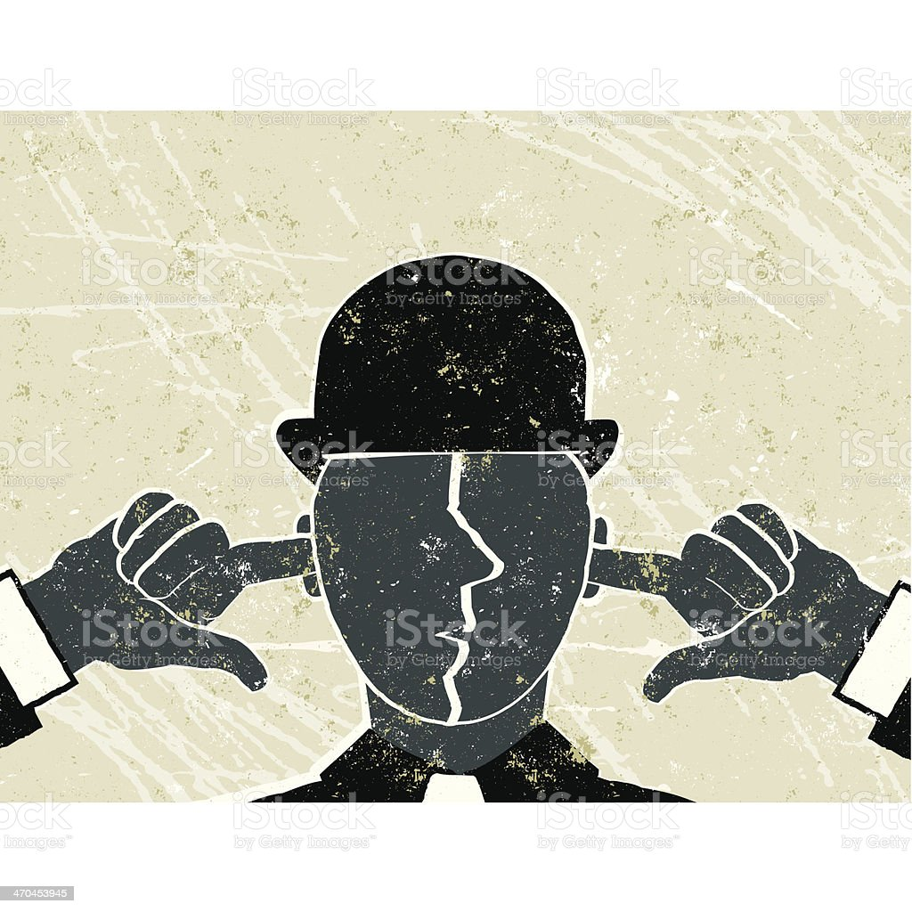 I Can't Hear You! Businessman with Fingers in Ears vector art illustration