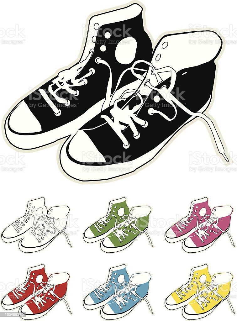 Canvas Boots - Colours vector art illustration