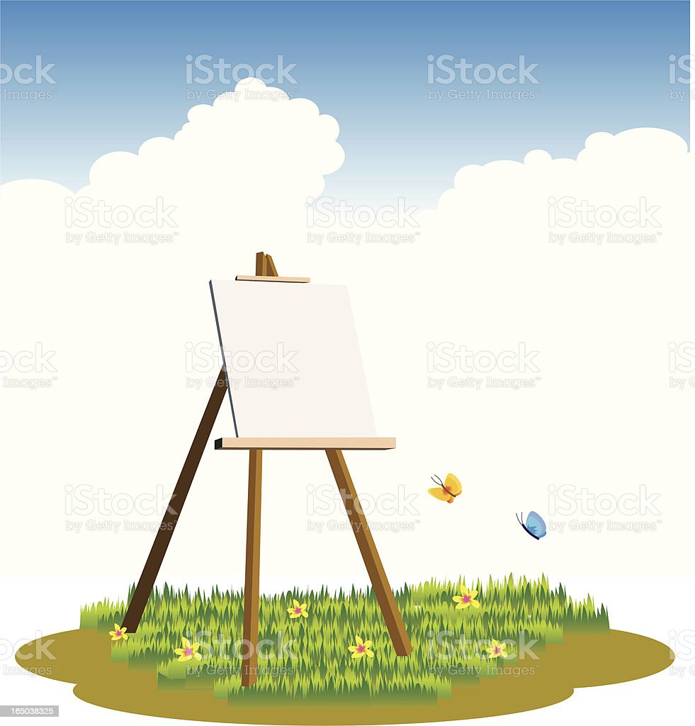 canvas in the grass field vector art illustration