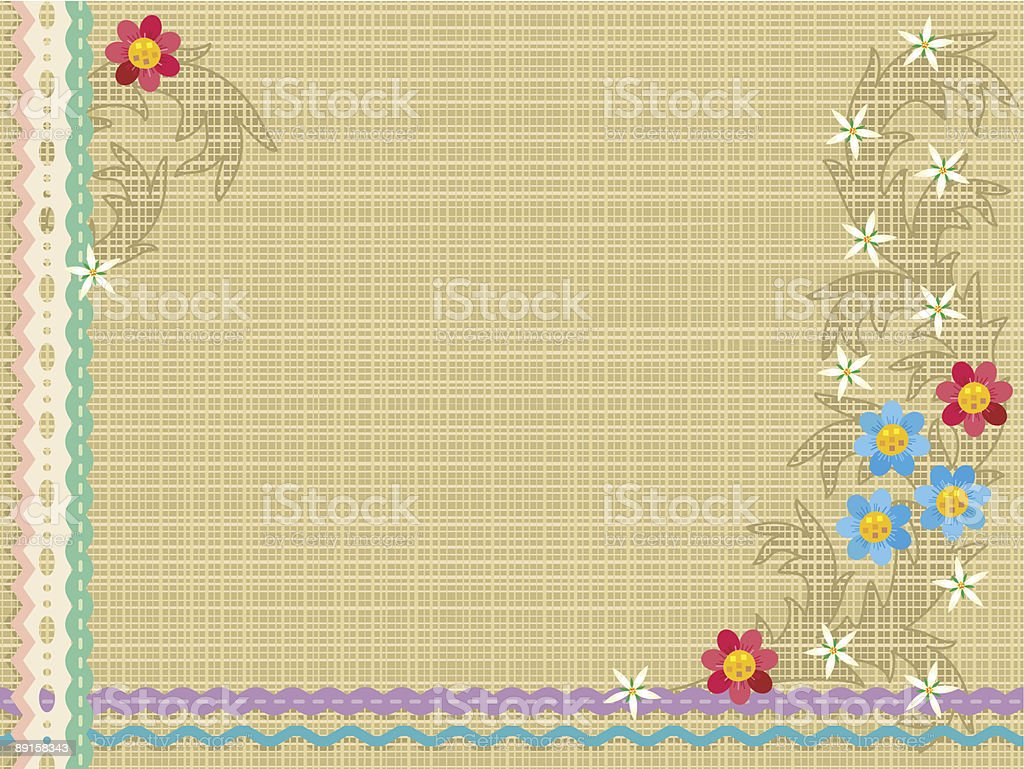 Canvas, lace, ribbons, embroidery (floral pattern) royalty-free stock vector art