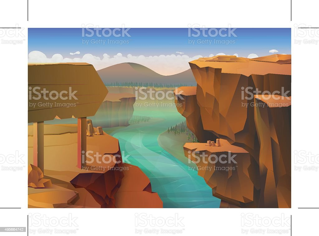 Canyon nature background vector art illustration