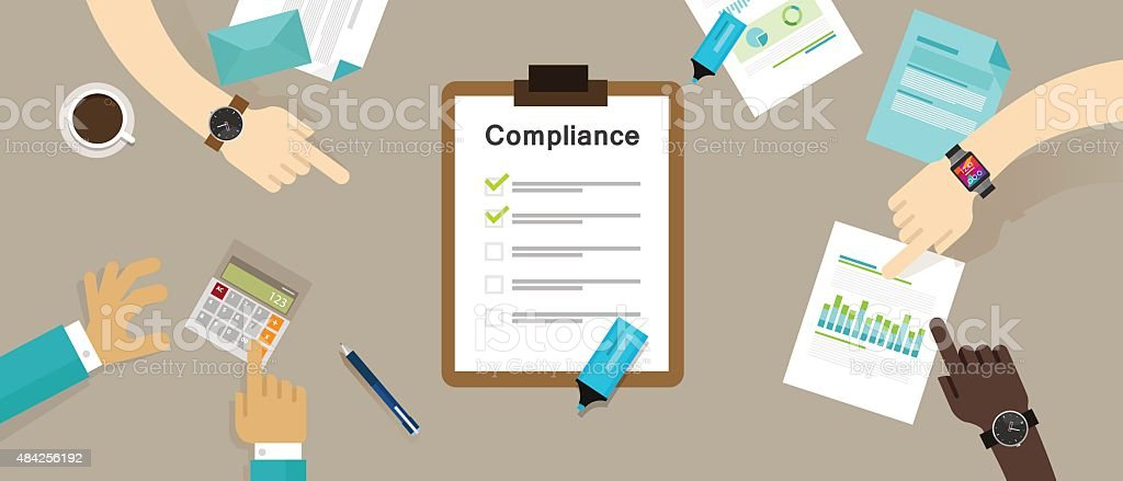 caompliance to regulation process standard industry company vector art illustration