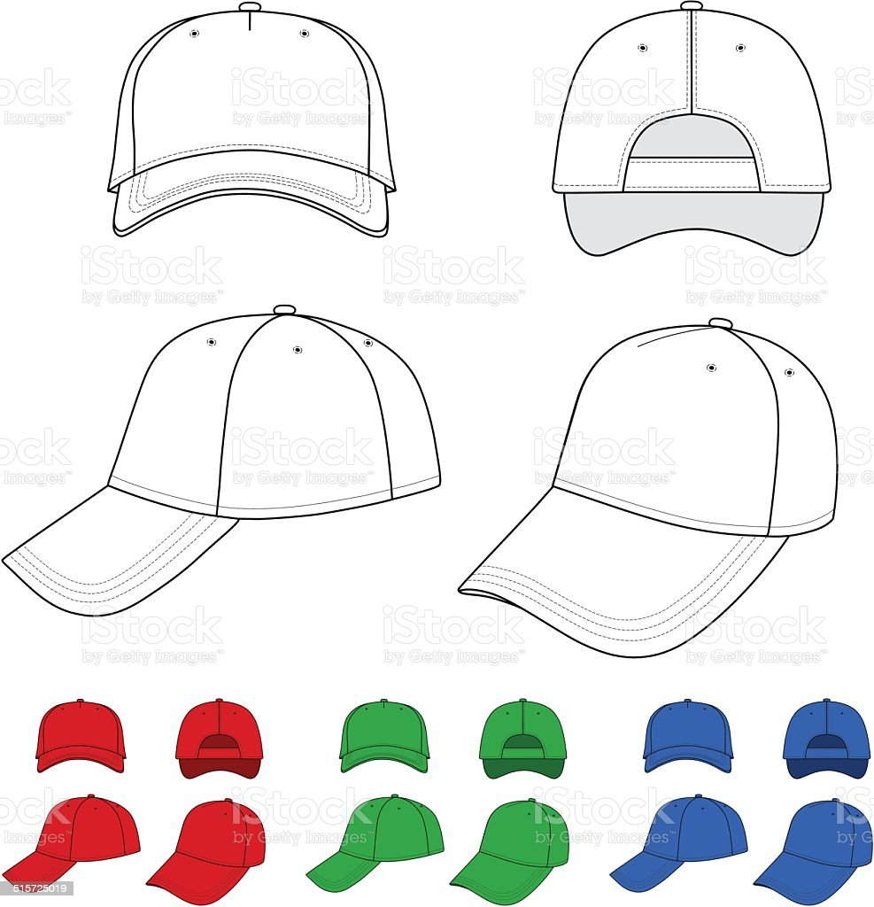 Cap outlined template vector art illustration