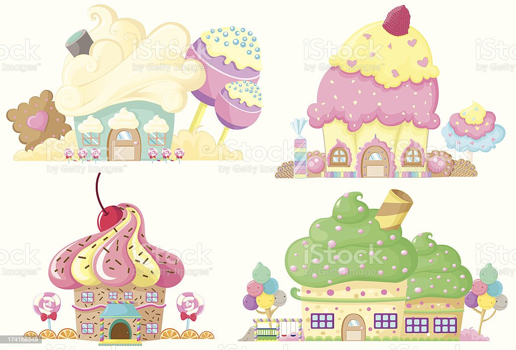 Capcake house color royalty-free stock vector art