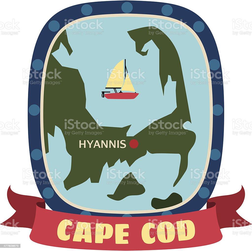Cape Cod travel sticker or luggage label vector art illustration