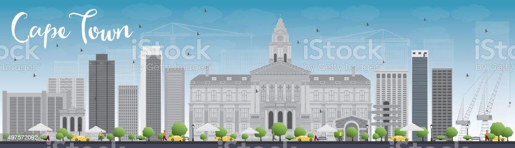 cape town skyline silhouette flat design vector illustration vector art illustration