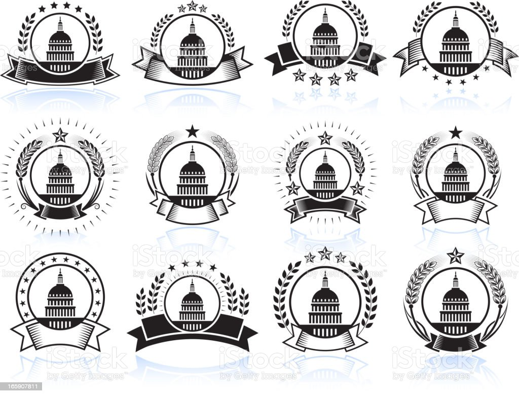 Capital Hill on Black and White Badges royalty-free stock vector art