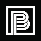 Capital letter B From white stripe enclosed in a square