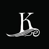 Capital Letter K for Monograms, Emblems and Logos. Beautiful Filigree