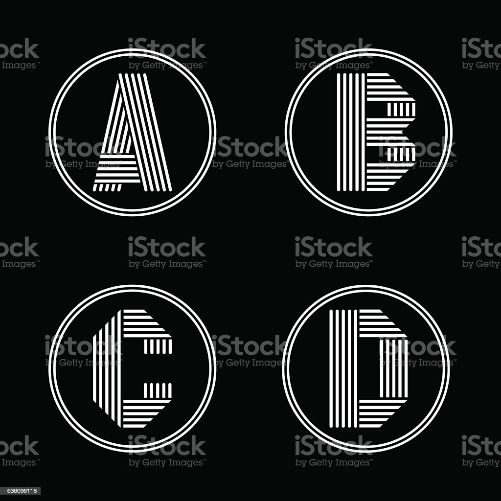 Capital letters A, B, C, D. From white stripe in vector art illustration