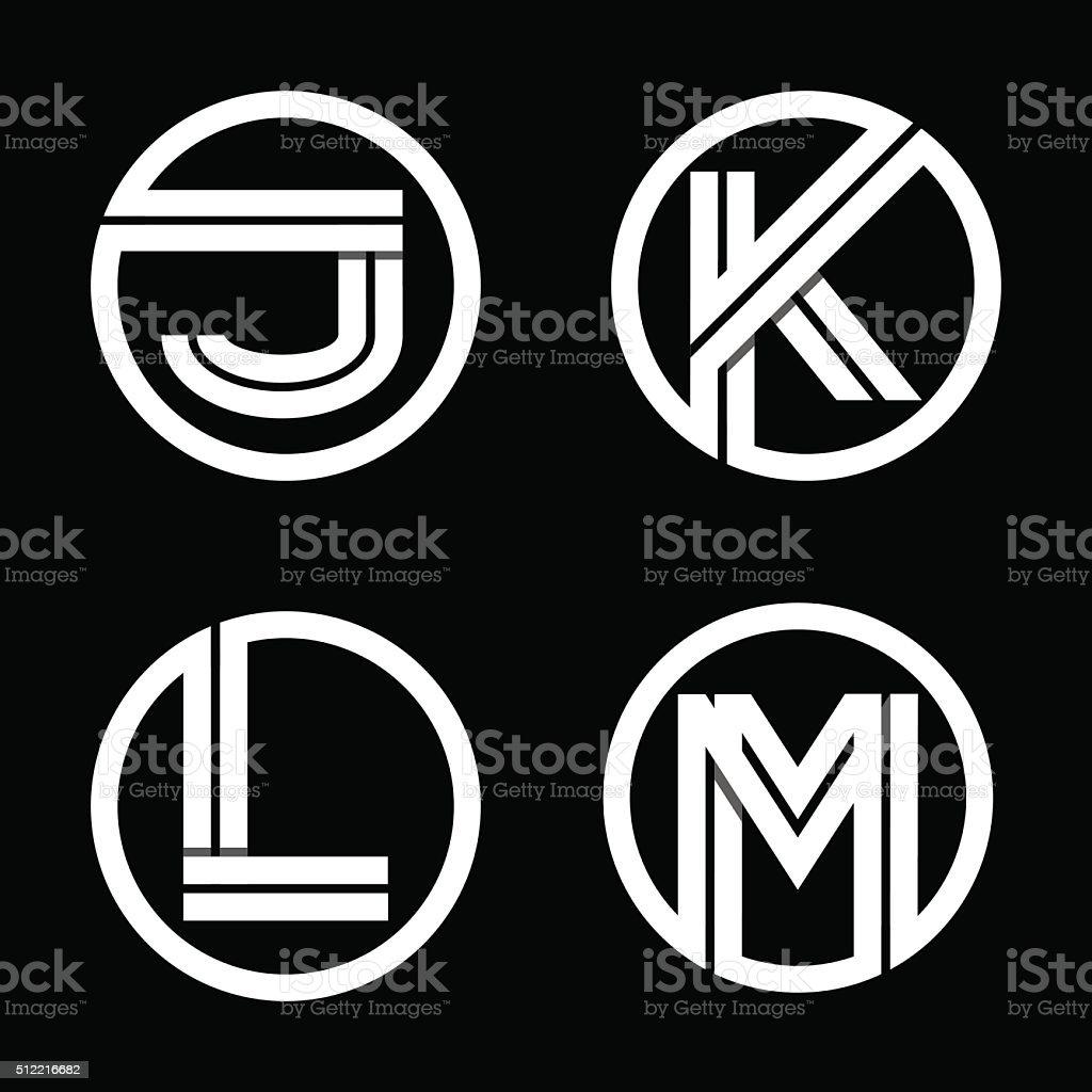 Capital letters J, K, L, M. From double white stripe .. vector art illustration
