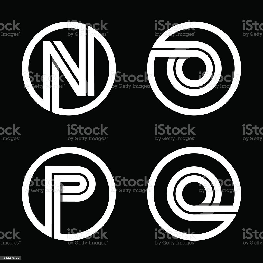 Capital letters N, O, P, Q. From double white stripe . vector art illustration