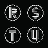 Capital letters R, S, T, U . From white stripe in