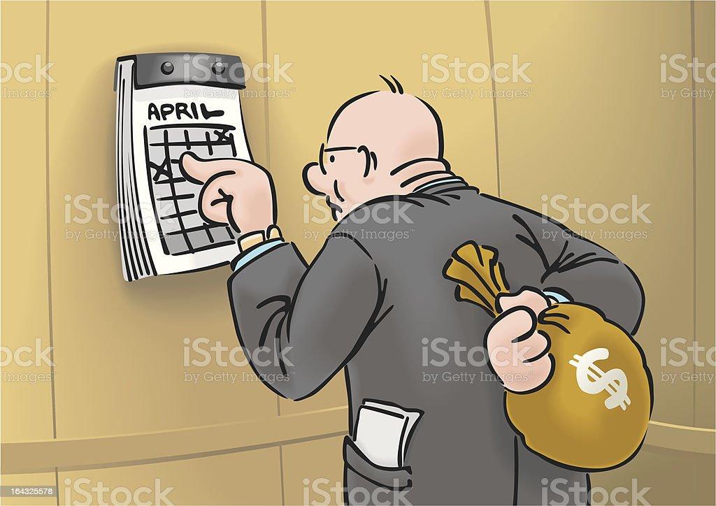 Capitalist with sack of money. vector art illustration