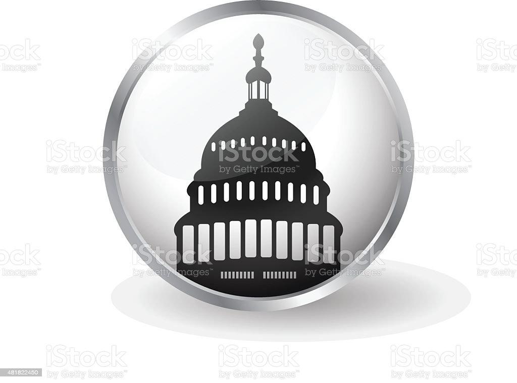 Capitol building icon button vector vector art illustration