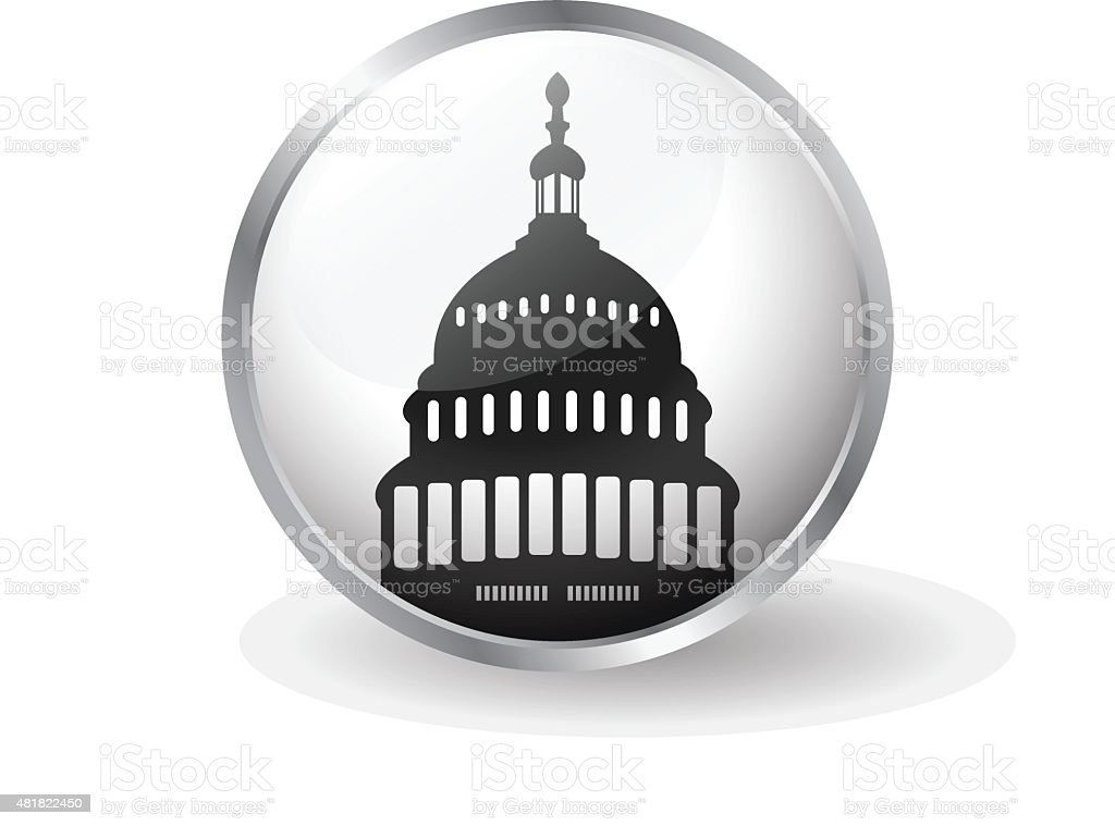 Capitol building icon button vector vector art illustration