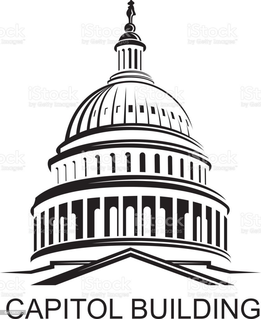 capitol building icon vector art illustration