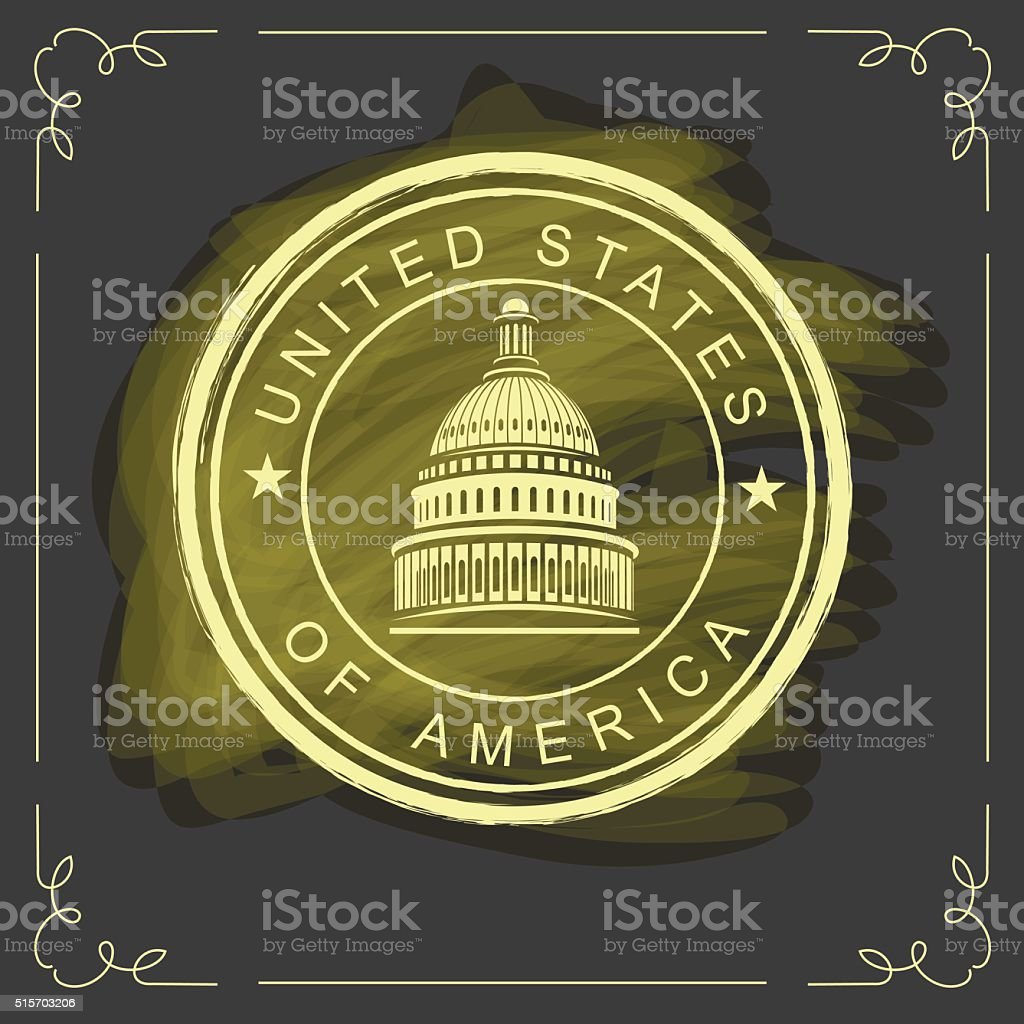 Capitol building in the United States vector art illustration