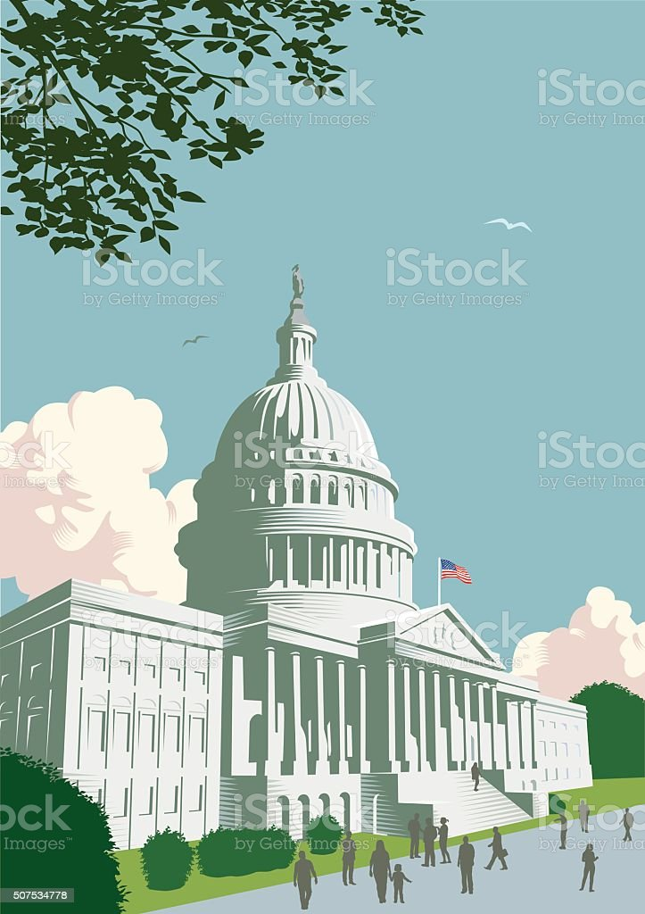 Capitol Building in Washington DC vector art illustration
