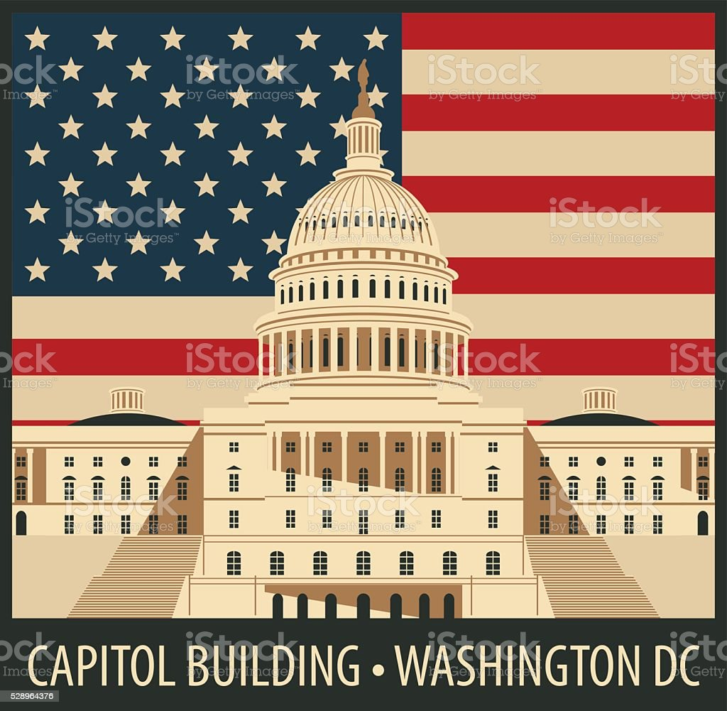 Capitol Building in Washington, DC vector art illustration