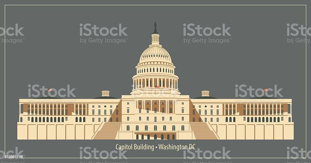 Capitol Building in Washington DC vector art illustration
