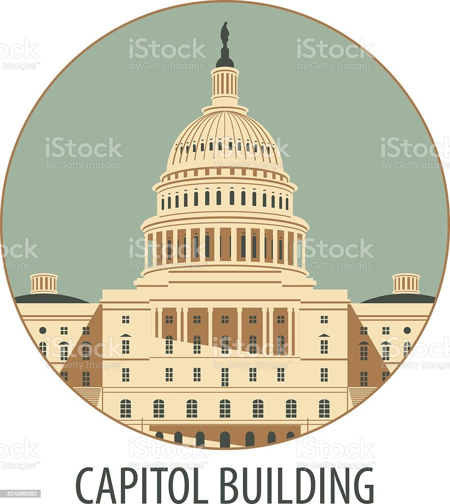 Capitol Building in Washington vector art illustration