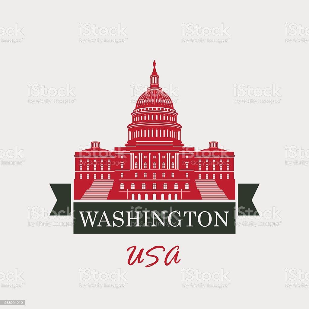Capitol Building in Washington vector art illustration
